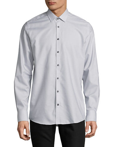 Bruun And Stengade Modern Fit Micro Check Sport Shirt-LIGHT GREY-EU 42/US Large