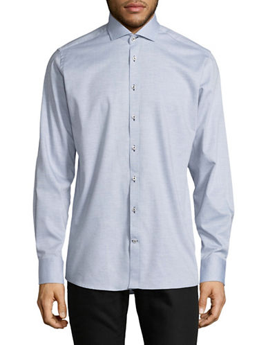 Bruun And Stengade Modern Fit Heathered Sport Shirt-LIGHT BLUE-EU 42/US Large