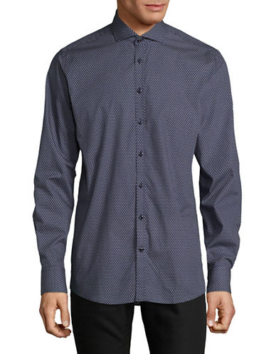Bruun And Stengade Modern Fit Geo Print Sport Shirt-NAVY-EU 38/US Small