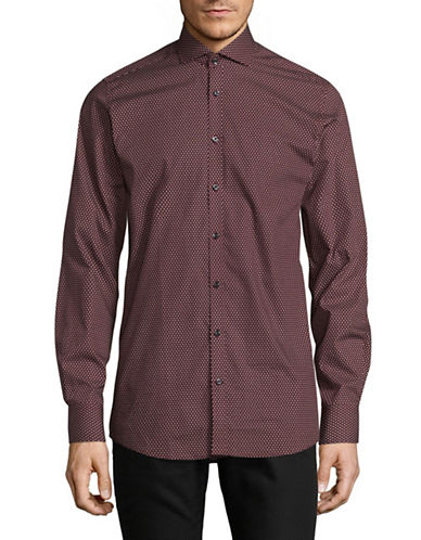 Bruun And Stengade Modern Fit Geo Print Sport Shirt-RED-EU 40/US Medium