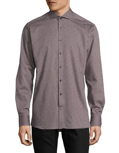 Bruun And Stengade Modern Fit Mixed Tone Sport Shirt-DARK GREY-EU 42/US Large