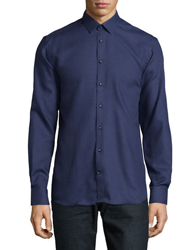 Bruun And Stengade Texture Shirt-NAVY-EU 40/US Medium
