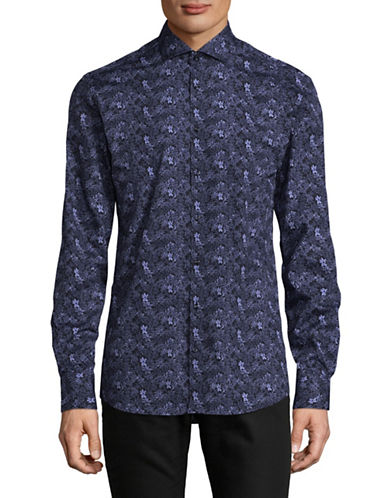 Bruun And Stengade Tapestry Print Shirt-NAVY-EU 42/US Large