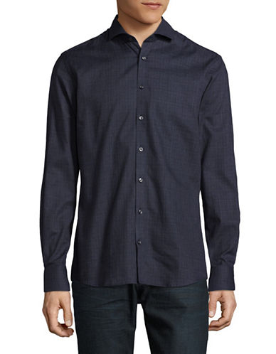 Bruun And Stengade Twill Sport Shirt-NAVY-EU 44/US X-Large