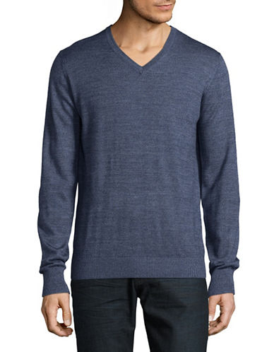 Bruun And Stengade Wool-Blend V-Neck Sweater-BLUE-Small