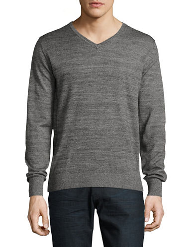 Bruun And Stengade Wool-Blend V-Neck Sweater-BLACK-XX-Large