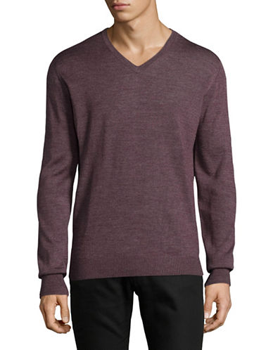 Bruun And Stengade Wool-Blend V-Neck Sweater-RED-X-Large