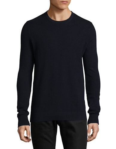 Bruun And Stengade Modena Cotton Crew Sweater-NAVY-XX-Large