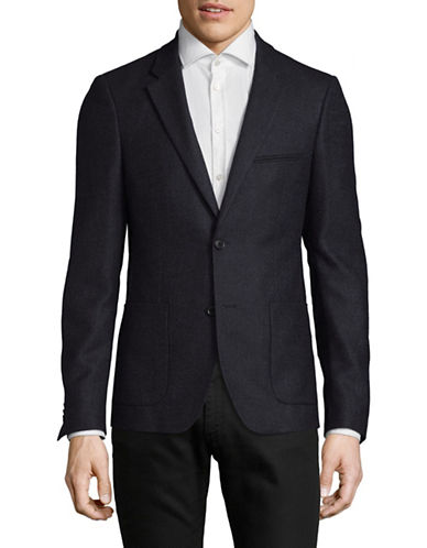 Bruun And Stengade Heathered Two-Button Sports Jacket-NAVY-EU 52/US 42