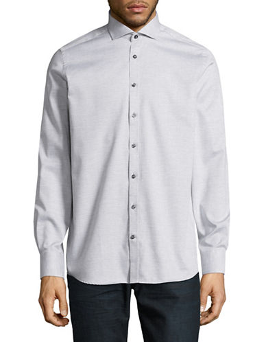 Bruun And Stengade Gebson Cotton Sport Shirt-LIGHT GREY-EU 38/US Small