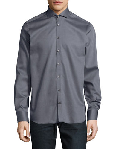 Bruun And Stengade Micro Dot Cotton Sportshirt-GREY-EU 44/US X-Large