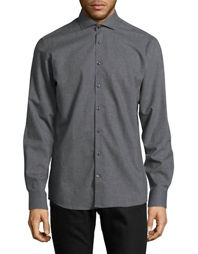Bruun And Stengade Byron Slim-Fit Cotton Sport Shirt-GREY-EU 38/US Small