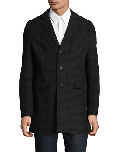 Bruun And Stengade Check Wool-Blend Plaid Jacket-BLACK-Medium