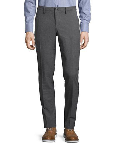 Bruun And Stengade Textured Twill Slim-Fit Trousers-DARK GREY-36X32