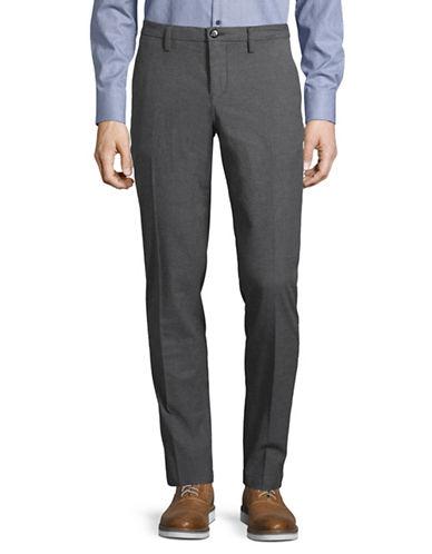 Bruun And Stengade Textured Twill Slim-Fit Trousers-DARK GREY-34X32