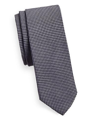 Bruun And Stengade Houndstooth Cotton Tie-DARK GREY-One Size