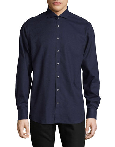 Bruun And Stengade Mod Neves Cotton Sport Shirt-NAVY-EU 38/US Small