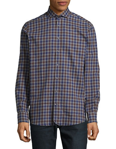 Bruun And Stengade Mod Varela Checked Cotton Sport Shirt-BLUE-EU 44/US X-Large
