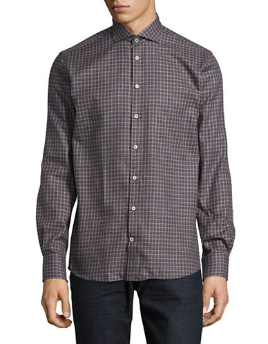 Bruun And Stengade Slim Brooks Checked Cotton Sport Shirt-GREY-EU 42/US Large