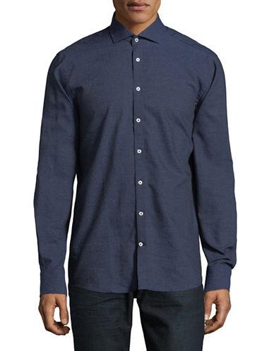 Bruun And Stengade Diamond-Print Cotton Sport Shirt-BLUE-EU 42/US Large