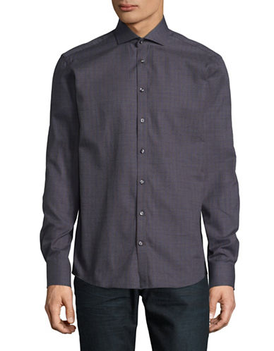 Bruun And Stengade Checkered Cotton Sport Shirt-GREY-EU 42/US Large