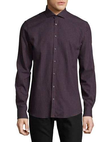 Bruun And Stengade Slim Warden Checked Cotton Sport shirt-RED-EU 42/US Large
