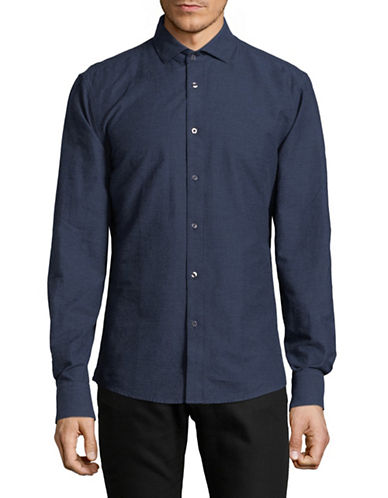 Bruun And Stengade Slim-Fit Cotton Sport Shirt-BLUE-Large