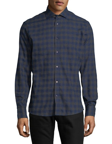 Bruun And Stengade Vettel Checked Slim Shirt-GREY-X-Large