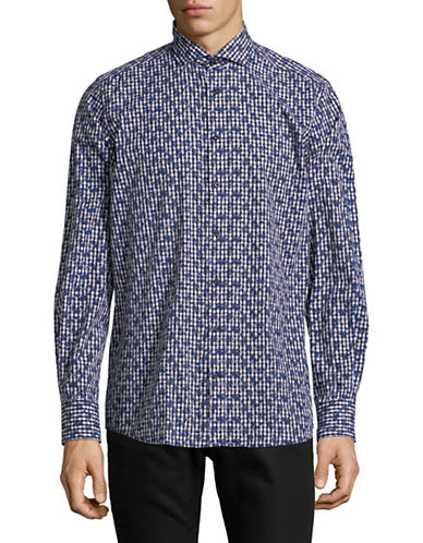 Bruun And Stengade Floral Printed Cotton Sport Shirt-BLUE-EU 44/US X-Large