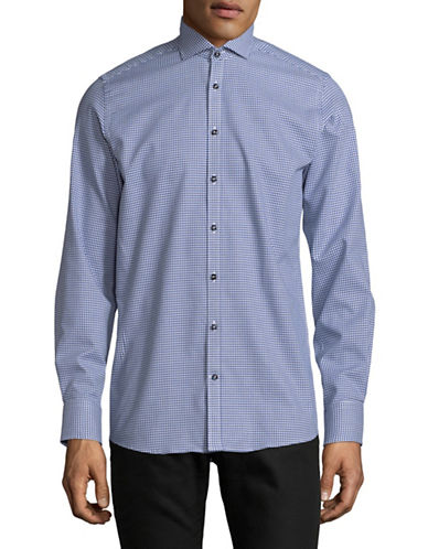 Bruun And Stengade Weidenfeller Cotton Sport Shirt-BLUE-EU 38/US Small
