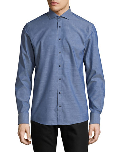 Bruun And Stengade Stamenov Dotted Sport Shirt-BLUE-EU 40/US Medium