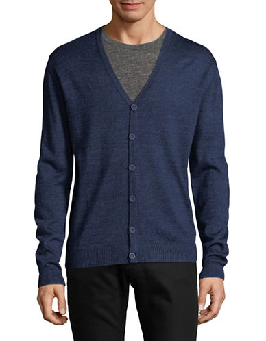 Bruun And Stengade Bresia Graph Wool-Blend Cardigan-BLUE-Large