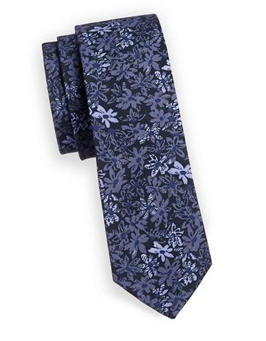Bruun And Stengade Heywood Floral Slim Tie-BLUE-One Size