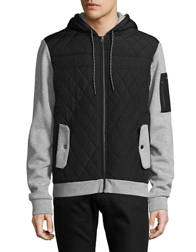 Nautica Mixed Media Zip-Up-BLACK-Large