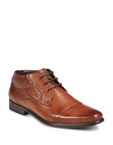 Bugatti Leather Chukka Cap-Toe Boots-BROWN-EU 45/US 12