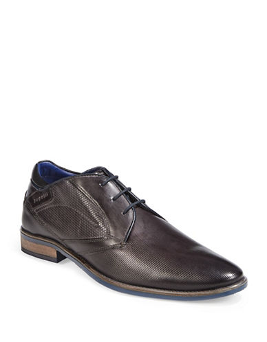 Bugatti Textured Leather Derby Shoes-DARK GREY-EU 43/US 10
