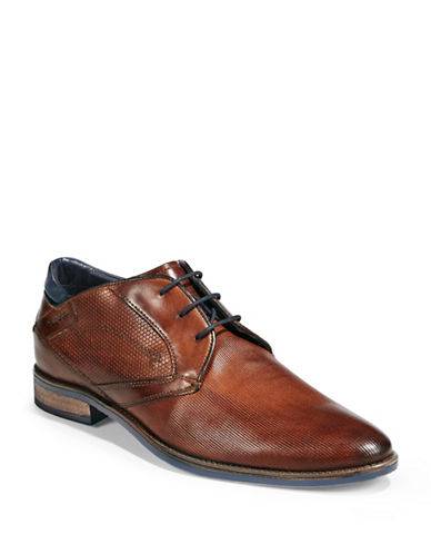 Bugatti Textured Leather Derby Shoes-COGNAC-EU 45/US 12