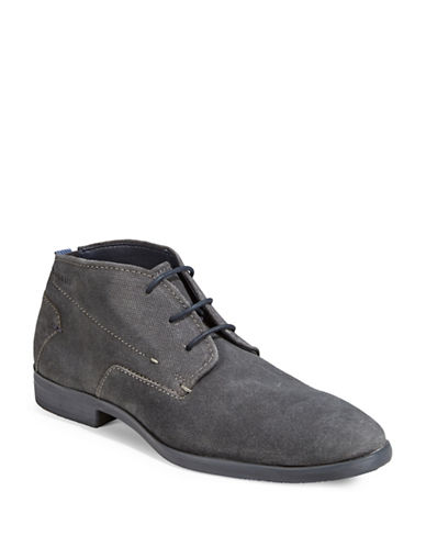Bugatti Suede Lace-Up Shoes-DARK GREY-EU 45/US 12