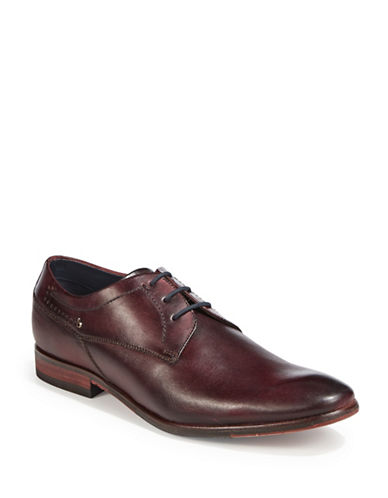 Bugatti Textured Leather Derby Shoes-RED-EU 44/US 11
