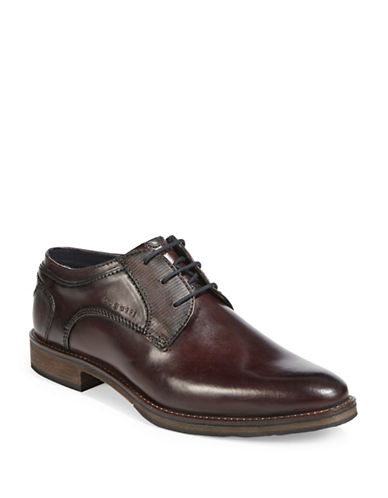 Bugatti Textured Leather Derby Shoes-DARK BROWN-EU 45/US 12