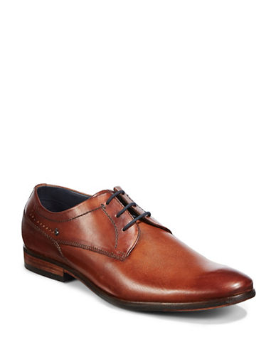 Bugatti Textured Leather Derby Shoes-BROWN-EU 45/US 12