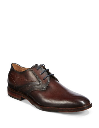 Bugatti Textured Leather Derby Shoes-DARK BROWN-EU 41/US 8