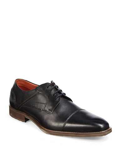 Bugatti Textured Leather Derby Cap-Toe Shoes-BLACK-EU 40/US 7