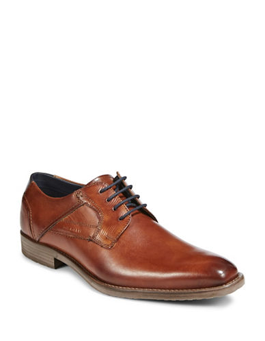 Bugatti Textured Leather Derby Shoes-BROWN-EU 40/US 7