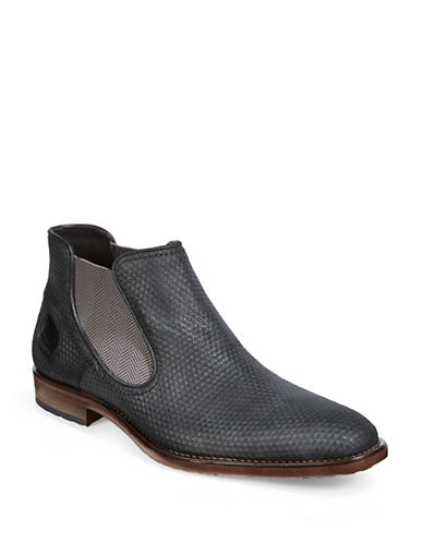 Bugatti Textured Leather Chelsea Boots-BLACK-EU 44/US 11