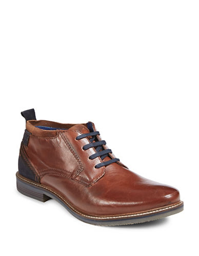 Bugatti Two-Tone Leather Casual Shoes-COGNAC-EU 44/US 11