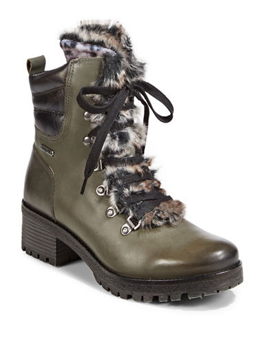Bugatti Marci Leather and Faux Fur Trim Street Boots-GREY-EUR 36/US 6
