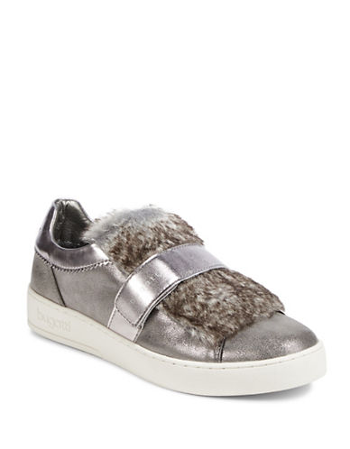 Bugatti Ladies Metallic Faux-Fur Sneakers-TAUPE-EUR 40/US 10