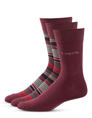 Bugatti Mens Three-Pack Sensitive Comfort Top Socks-RED-10-13