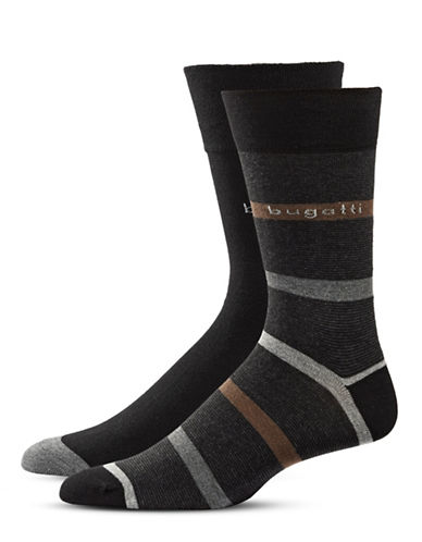Bugatti Two-Pack Fancy Stripes Socks Set-BLACK-10-13